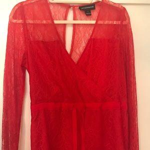 Stylestalker red lace romper